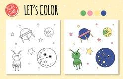 Livre de coloriage avec UFO, étranger, planète illustration de vecteur