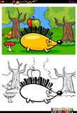 Livre de coloriage de caractère de hérisson de bande dessinée Images stock