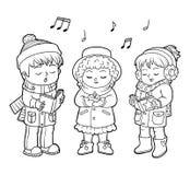 Livre de coloriage, choeur de Noël d'enfants illustration libre de droits