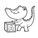 Livre de coloriage, crocodile et cube Photographie stock libre de droits