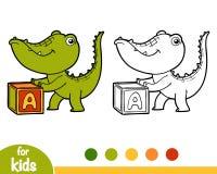 Livre de coloriage, crocodile et cube Image stock
