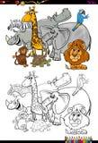Livre de coloriage d'animaux de safari de bande dessinée Photographie stock libre de droits