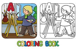 Livre de coloriage d'artiste Profession ABC Alphabet A Photos libres de droits