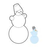 Livre de coloriage de bonhomme de neige Caractère de Noël hors de neige Images libres de droits