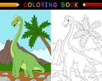 Livre de coloriage de brachiosaurus de bande dessinée illustration stock