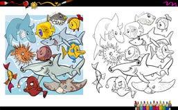 Livre de coloriage de caractères de poissons Photo stock