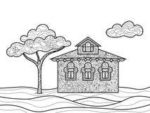 Livre de coloriage de Chambre pour le vecteur d'adultes Image libre de droits