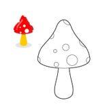 Livre de coloriage de champignon Chiffre ligne de champignon Toxique hallucinant Image stock