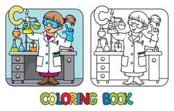Livre de coloriage de chimiste Profession ABC Alphabet C Images libres de droits