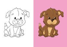 Livre de coloriage de chiot mignon de Brown illustration stock