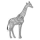 Livre de coloriage de girafe pour le vecteur d'adultes illustration libre de droits