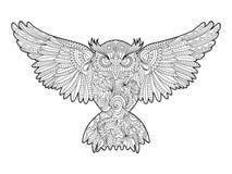 Livre de coloriage de hibou pour le vecteur d'adultes illustration libre de droits