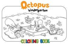 Livre de coloriage de jardin d'enfants de poulpe Photographie stock