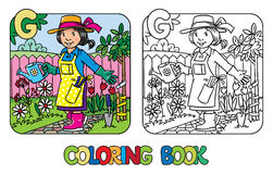 Livre de coloriage de jardinier Alphabet G Profession ABC Image stock