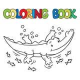 Livre de coloriage de petit alligator ou crocodile Photo stock