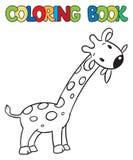 Livre de coloriage de petite girafe drôle Photo stock