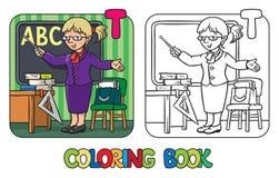 Livre de coloriage de professeur Profession ABC Alphabet T Photo stock