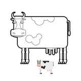 Livre de coloriage de vache Illustration de vecteur des animaux de ferme Photographie stock