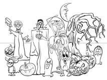 Livre de coloriage drôle de caractères de bande dessinée de vacances de Halloween illustration stock