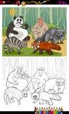 Livre de coloriage drôle de bande dessinée d'animaux Photographie stock libre de droits