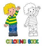 Livre de coloriage drôle de petit garçon illustration de vecteur
