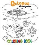 Livre de coloriage drôle de poulpe Photographie stock libre de droits