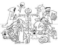 Livre de coloriage effrayant de caractères de bande dessinée de vacances de Halloween illustration stock