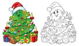 Livre de coloriage, illustration Arbre de Noël avec l'illustration de gifts Concept de carte de voeux Photographie stock