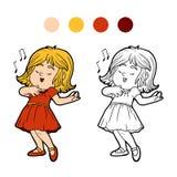 Livre de coloriage : la petite fille dans une robe rouge chante une chanson Photographie stock
