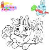 Livre de coloriage, lapin mignon de bande dessinée avec une carotte dans des ses pattes illustration stock