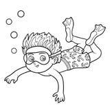 Livre de coloriage, natation de petit garçon en mer illustration stock