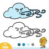 Livre de coloriage, nuage et vent illustration libre de droits