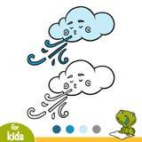 Livre de coloriage, nuage et vent illustration stock