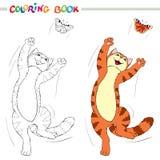 Livre de coloriage ou page Chat rouge sautant par-dessus les papillons sur le fond blanc Images stock