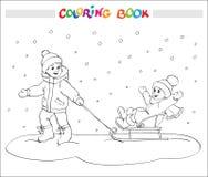 Livre de coloriage ou page Deux enfants - garçon et fille sur le traîneau Photos libres de droits