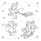 Livre de coloriage ou page Ensemble de souris de vecteur Photo stock