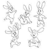 Livre de coloriage ou page Ensemble de vecteur de lapins Photographie stock