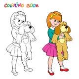 Livre de coloriage ou page Fille avec un chien de jouet Image stock
