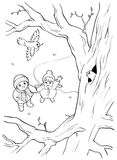 Livre de coloriage ou page Oiseau sauvage sur l'arbre et deux enfants printemps Image stock