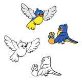Livre de coloriage ou page Oiseaux avec le cadeau Photo libre de droits