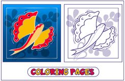 Livre de coloriage de poissons de vol Photographie stock