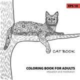 Livre de coloriage pour des adultes - livre de chat de zentangle, stylo d'encre, fond noir et blanc, modèle complexe, griffonnage Images libres de droits