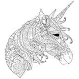 Livre de coloriage pour des adultes Des photos de coloration avec la licorne magique de conte de fées, peuvent également être emp illustration de vecteur