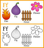 Livre de coloriage pour des enfants - alphabet F Photos libres de droits