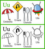 Livre de coloriage pour des enfants - alphabet U Photos stock