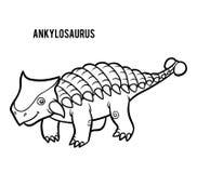 Livre de coloriage pour des enfants, Ankylosaurus de bande dessinée Illustration Stock