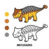 Livre de coloriage pour des enfants, Ankylosaurus de bande dessinée illustration libre de droits