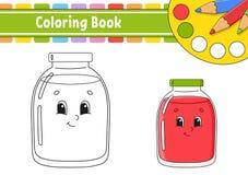 Livre de coloriage pour des enfants Caractère gai Illustration de vecteur Style mignon de bande dessinée Tiré par la main Page d' illustration libre de droits