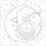 Livre de coloriage pour l'adulte et les enfants Page de coloration avec un hibou sur la lune parmi les étoiles illustration de vecteur
