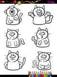 Livre de coloriage réglé de bande dessinée d'émotion de chats Photographie stock libre de droits